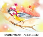 the bird in the hat and scarf.... | Shutterstock . vector #731313832