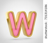 pink letter w uppercase. 3d...   Shutterstock . vector #731314186