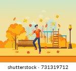 autumn kids playground ... | Shutterstock .eps vector #731319712
