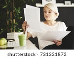 concentrated businesswoman... | Shutterstock . vector #731321872