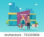 boy and girl do shopping.... | Shutterstock .eps vector #731333836