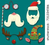 christmas photo booth props... | Shutterstock .eps vector #731334586