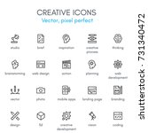 creative theme  line icon set.... | Shutterstock .eps vector #731340472