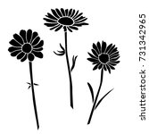 set of silhouettes of flowers... | Shutterstock .eps vector #731342965