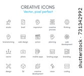 creative theme  line icon set.... | Shutterstock .eps vector #731342992