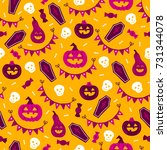 halloween seamless pattern with ... | Shutterstock .eps vector #731344078
