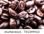 close up  roasted coffee beans  ... | Shutterstock . vector #731349412
