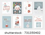 collection of 8 cute merry... | Shutterstock .eps vector #731350402