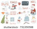 christmas set  hand drawn style ... | Shutterstock .eps vector #731350588