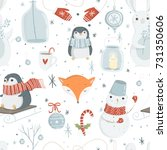winter and christmas elements... | Shutterstock .eps vector #731350606