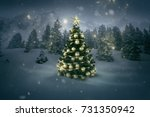 christmas tree in a winter... | Shutterstock . vector #731350942