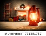 home interior and fireplace  | Shutterstock . vector #731351752