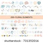 big vector set of floral... | Shutterstock .eps vector #731352016