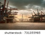 hamburg harbor | Shutterstock . vector #731355985
