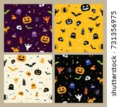 halloween pattern seamless... | Shutterstock .eps vector #731356975