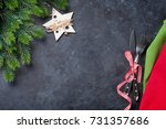christmas table setting. top... | Shutterstock . vector #731357686