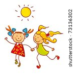 friendship. two girls isolated... | Shutterstock .eps vector #73136302