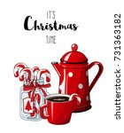 red vintage coffee pot with cup ... | Shutterstock .eps vector #731363182