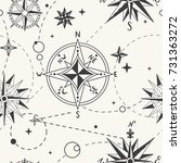 seamless pattern with vintage... | Shutterstock .eps vector #731363272