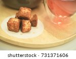 tea set served with garlic... | Shutterstock . vector #731371606