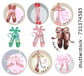 ballet shoes. collection of... | Shutterstock .eps vector #731374585