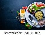 english breakfast. eggs  olives ... | Shutterstock . vector #731381815