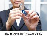 the jewelry expert is looking... | Shutterstock . vector #731383552