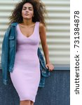 Stock photo gorgeous slim woman with perfect figure thin waist and wide hips wearing tight pink cotton dress 731384878