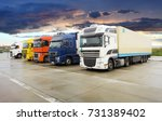 cargo trucking transportation | Shutterstock . vector #731389402