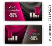 set of gift vouchers with face... | Shutterstock .eps vector #731392276