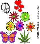 Retro Happy Hippie Set of Flower Power Groovy Icons Vector Illustration