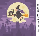 old witch flying on a broom... | Shutterstock .eps vector #731406922