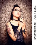 gothic girl and leopard print... | Shutterstock . vector #73141153