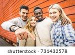 happy multiracial friends group ...   Shutterstock . vector #731432578