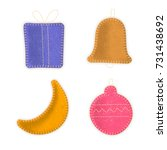 vector set of hand made sewn... | Shutterstock .eps vector #731438692