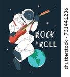 astronaut playing guitar | Shutterstock .eps vector #731441236
