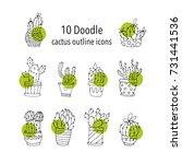 set of 10 handdrawn doodle... | Shutterstock .eps vector #731441536