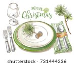 christmas table decorating... | Shutterstock .eps vector #731444236