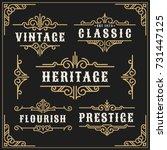 vintage flourishes vine frame... | Shutterstock .eps vector #731447125