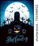 halloween background with tomb... | Shutterstock .eps vector #731448922