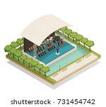 isometric composition with big... | Shutterstock .eps vector #731454742