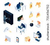 hacker set of isometric icons...