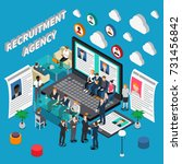 isometric colored recruitment... | Shutterstock .eps vector #731456842