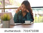 business woman working and... | Shutterstock . vector #731471038