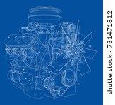 engine sketch. vector rendering ... | Shutterstock .eps vector #731471812