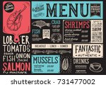seafood menu for restaurant and ... | Shutterstock .eps vector #731477002