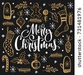 christmas doodles set   Shutterstock .eps vector #731481976
