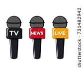 microphone icons for live news  ... | Shutterstock .eps vector #731482942