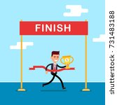 business man reaches the finish ... | Shutterstock .eps vector #731483188