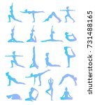 woman is doing yoga positions.... | Shutterstock .eps vector #731488165